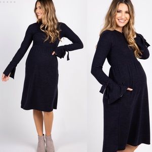 NWT Grey Solid Bell Sleeve Tie Maternity Dress